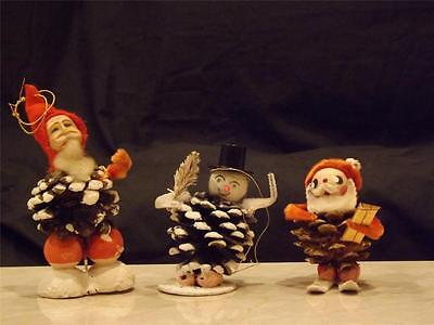 Vintage Lot 3 Pinecone Elves Paper Mache Face Pressed Cotton Hats Chenille Hands