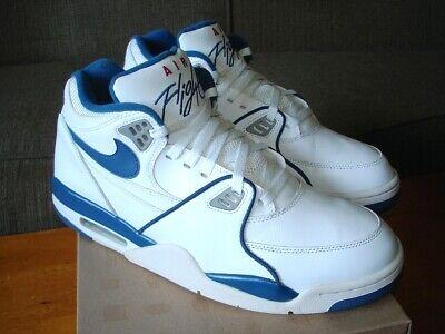 2012 Nike Air Flight 89 Retro White Dark Royal Blue Grey Red 306252-100 Size 12