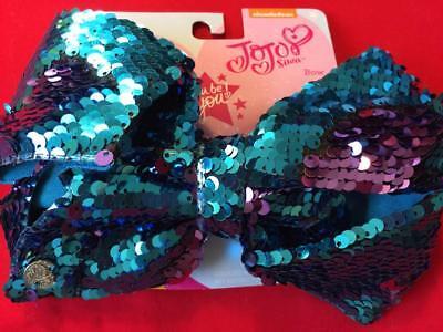 JOJO SIWA Large Purple & Blue Flip Reversible Sequin Signature Hair Bow NEW!