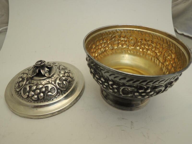 Israel Vintage Sugar Bowl 104g Silver 925, Diam. 97mm Height 100mm