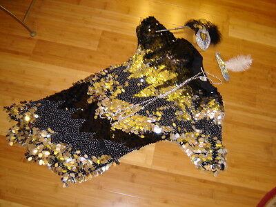 Mardi Gras1920s twenties flapper costume black silver beaded dress sz 8 Gatsby - Twenties Flapper Dress