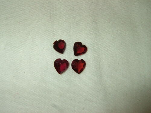 OLD STOCK Lot of 4 - 7mm Faceted Heart Shaped Burgundy/Red Garnet Stones