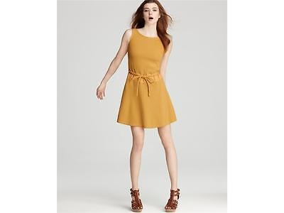 See By Chloé Yellow Waffle with Apron Back Dress Size 48 IT, 12 US, NWT $395 Cotton 48' Waffle Robe