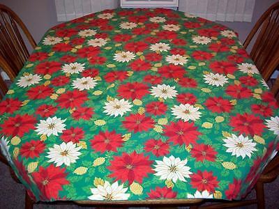"Vintage Christmas Tablecloth 50"" x 65"" Poinsettias FREE USA SHIPPING!"