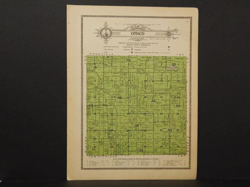 Minnesota Waseca County Map Otisco Township  1914   W2#90