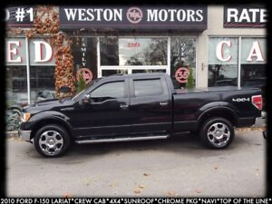 2010 Ford F-150 LARIAT*4X4*SUNROOF*CHRM PKG*NAVI*LEATHER*BTOOTH*
