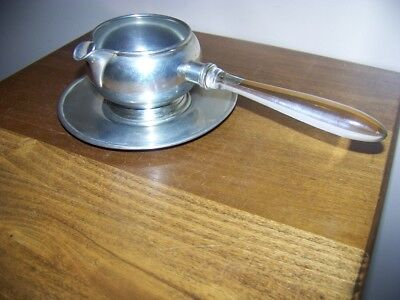 Hanle & Debler vintage handled pewter gravy sauce boat cup w/plate Sauce-boat-cup