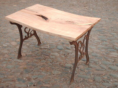 VINTAGE RUSTIC RECLAIMED CAST IRON AND HARDWOOD TABLE