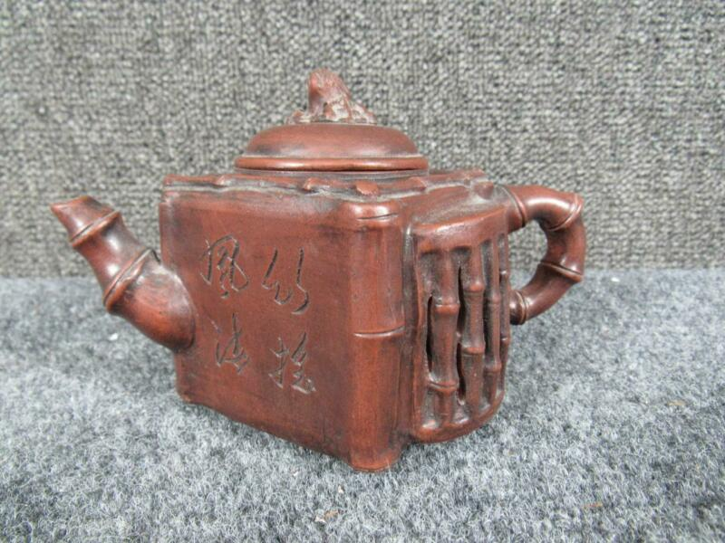 ANTIQUE signed CHINESE RED CLAY CALLIGRAPHY TEAPOT in BAMBOO DESIGN, YIXING ?