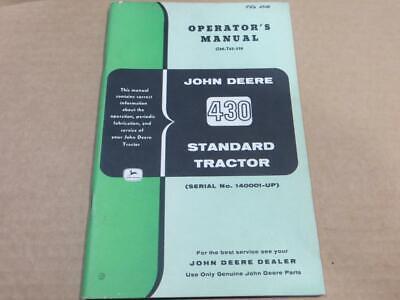 John Deere Original 430 Standard Operators Manual