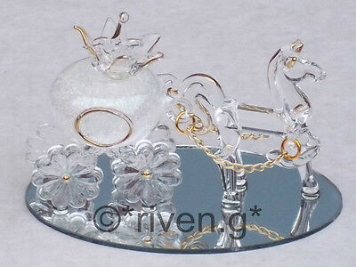 Horse & Pumpkin Carriage@CINDERELLA PRINCESS Table Decor@WHITE GLITTERED GIFT - Princess Carriage Centerpiece