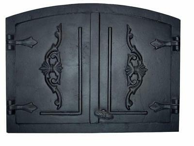 Cast Iron Fire Door Clay Bread Oven Pizza Stove Quality Black (G) 42 x 56