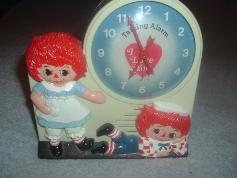 Vintage Rare French Speaking Raggedy Ann Andy Talking Alarm Clock,Works!