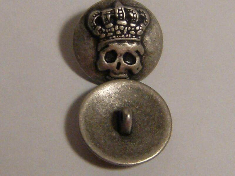 """Nicky Epstein Rare Skull KIng.  Lot of six antiqued silver buttons, Shank, 3/4""""."""