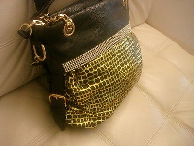 NEW WT MEDIUM BLACK LEATHER LIKE YELLOW GOLD RHINSTONES BLING PURSE TOTE BAG