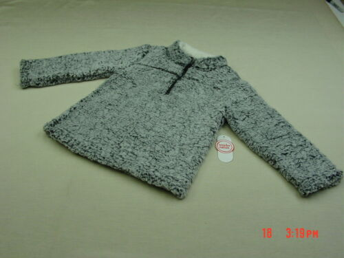 NWT NWOT Toddler Boy Girls Pullover Sherpa Top Gray Warm Soft Zipper Outside fun
