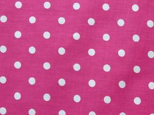 FUCHSIA HOT PINK + WHITE SMALL POLKA DOT GIRL FASHION SEW CRAFT DEC FABRIC BTHY#