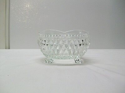 Vintage Indiana Glass Diamond Point 3 Footed Clear Glass Nut or Candy Dish