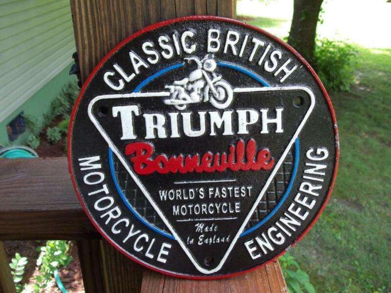CAST IRON TRIUMPH MOTORCYCLE BONNEVILLE SIGN PLAQUE! CLASSIC BRITISH ENGINEERING