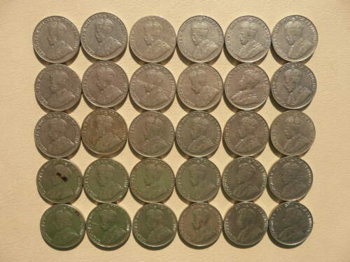 Lot of 30 Canada King George V Five Cents Nickel Coins - Lot B