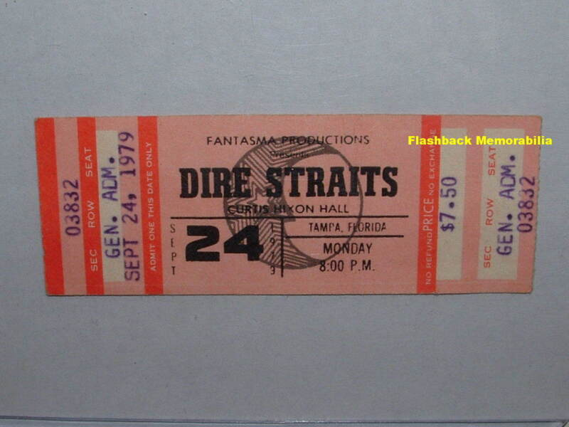DIRE STRAITS Unused 1979 Concert Ticket TAMPA CURTIS HIXON HALL Rare KNOPFLER