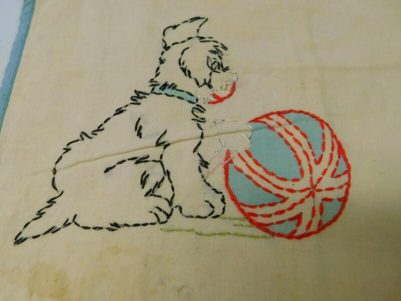 Antique Vintage VOGART Completed TINTED EMBROIDERED PILLOW COVER Puppy w Ball