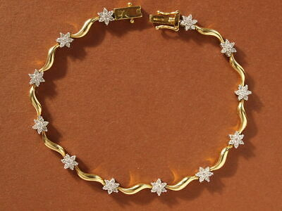 18ct yellow gold diamond daisy cluster bracelet 10.26 grams 7