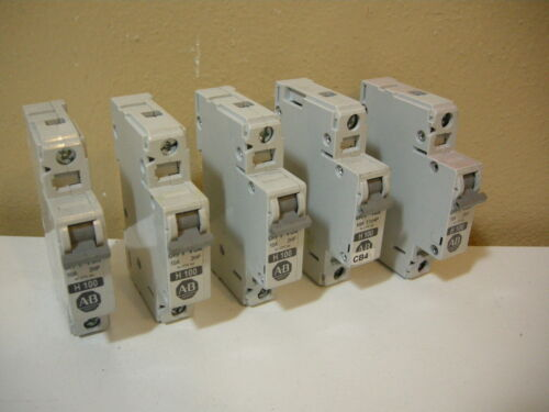 "Lot of (5) ALLEN BRADLEY 1492-CB1 H100 10A ""SERIES C"" CIRCUIT BREAKERS"