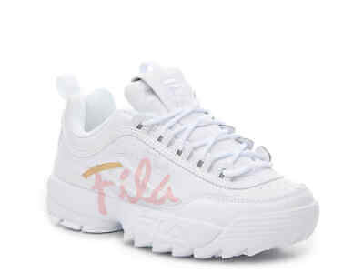 Pink White And Gold (FILA DISRUPTOR II SCRIPT SNEAKER - WOMENS - WHITE/LIGHT PINK/GOLD)