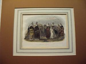 Karl Bodmer  Antique 1845  Hand Colored Etching  Mandan Women  Mint Condition