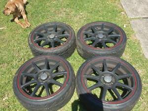 Rays Engineering Rims and Semi-slick Tyres 4x100 Leumeah Campbelltown Area Preview