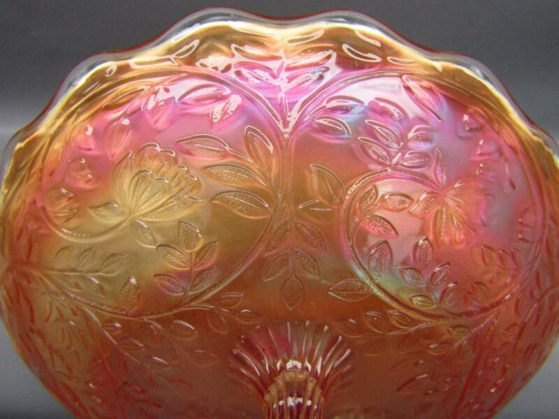 "Westmoreland LOUISA Marigold Carnival Glass Round Footed 9"" Bowl 7099"