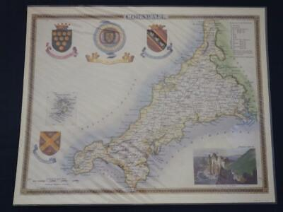 Reproduction Antique Map Cornwall 16 x 20 inches.