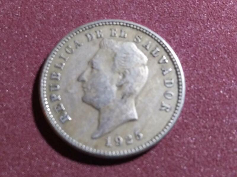 EL SALVADOR - 1925 copper-nickel 10 centavos - uncleaned original - VF-XF