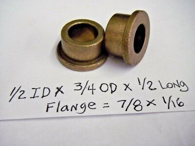 Bronze Flange Bushing 1//2 id x 5//8 od x3//4 oilite Brass Bearing Spacer Shim Bush