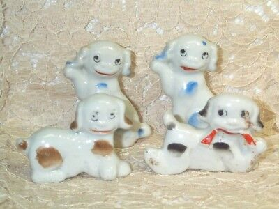 Vintage 4 Dog Figurines Japan Sitting High Five & Laying Down Ceramic Goggle Eye](Doggy High Five)