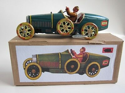 BUGATTI PAYA repro vtg WIND-UP Grand Prix Racer Race Car retro Tin New in Box