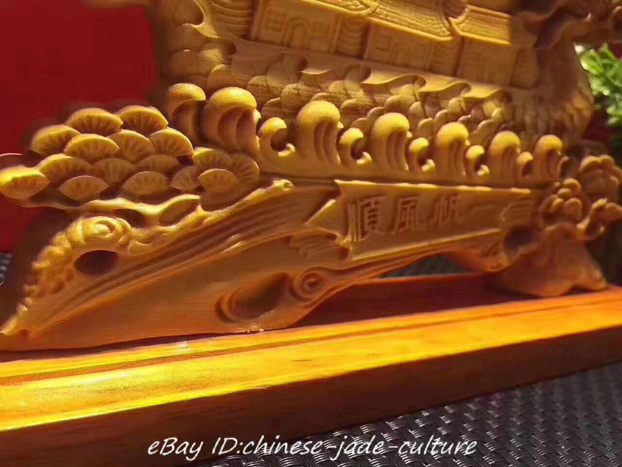 "9/"" China Natural Boxwood Carving Fengshui Dragon Sailing Boat Ship Lucky Statue"