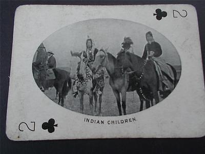 Vtg Antique Photo Canadian NORTH AMERICAN INDIAN CHILDREN Canada Playing Card