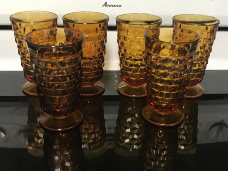 """6 INDIANA Whitehall Colony Cubist Cube Amber Harvest Gold Ice Tea Tumblers - 6"""""""