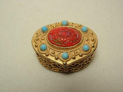 Vintage Florenza Hinged Trinket Pill Box Gold Tone Faux Turquoise