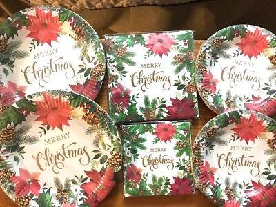 Lot Christmas Paper Plates and Napkins Set Poinsettia Decorative Party Serves - Plates And Napkins