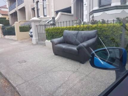 Free 2 seater brown leather lounge