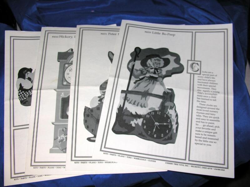 1988 VTG DIY WOODWORKING 4 PATTERNS,  CHERRY TREE TOYS, NURSERY RHYME, CLOCKS