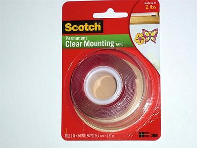 3M Scotch Permanent Clear Mounting Tape 25.4mmx1.51m hold 900g cat: 4010 VHB Scotch Permanent Mounting Tape