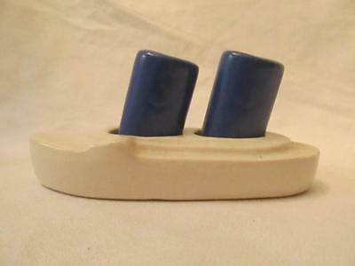 Vintage China/Pottery Cruise Ship Ocean Liner Salt & Pepper Shaker Set - Blue/Wh