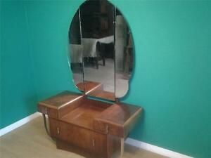 Good Art Deco walnut drop front dressing table  chrome features