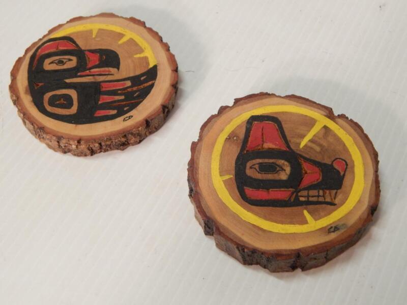 2 VINTAGE ALASKA / CANADA NW COAST CARVED CEDAR TOTEMIC DESIGN WOOD ROUNDS