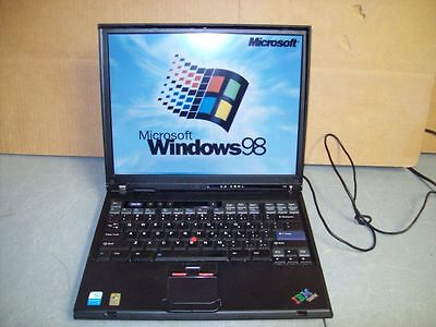 Ibm Thinkpad T40 Laptop Windows 98 Se Gaming Computer Ms Dos Office Dvd Games