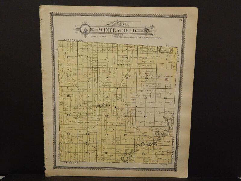 Michigan Clare County Map Winterfield Township c.1905    J14#25